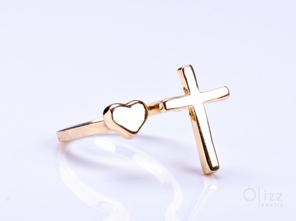 "Gold cross ring, gold heart ring, Sideways Cross Ring, gold double ring, adjustable ring, infinity cross ring, stretch ring, ""Telchines"""