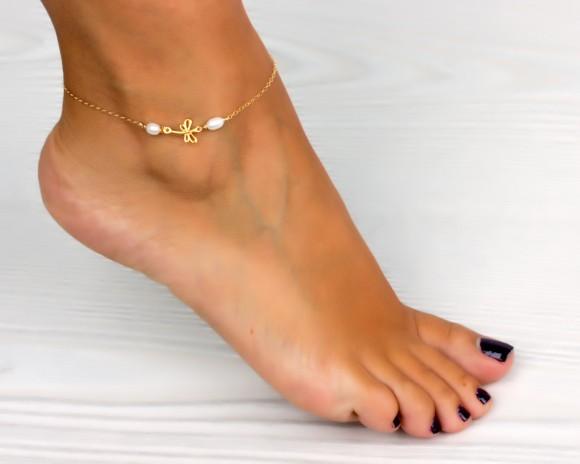 Dragonfly anklet / Pearl ankle bracelet