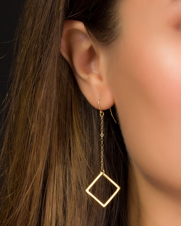 Gold Long Earrings • Gold Geometric Earrings