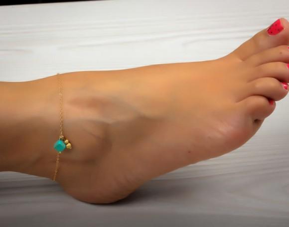 "Turquoise anklet, gold anklet, ankle bracelet, foot jewelry, gold ankle bracelet, charm anklet, delicate anklet, bridesmaid gift,""Okeanides"""