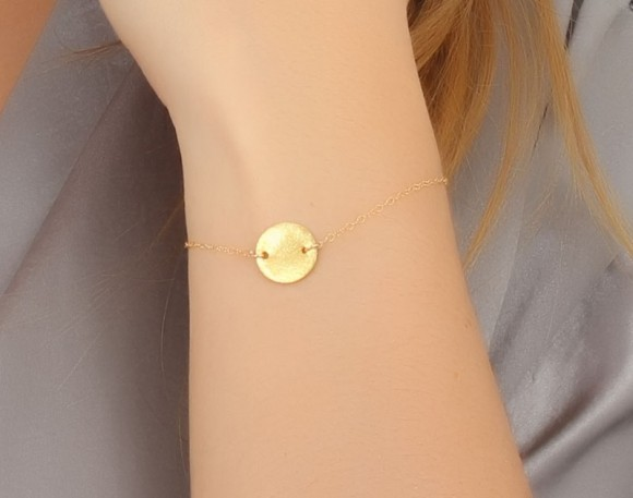 "Gold disc bracelet, Coin bracelet, minimalist jewelry, brushed gold bracelet, everyday bracelet, best friend bracelet, tiny charm, ""Galaxy"""