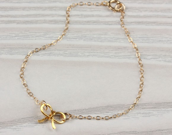 "Gold Bow Bracelet, bow bracelet, bridesmaid jewelry, bridesmaid gift, gold bracelet, charm bracelet, bridesmaid bracelet, wedding,""Tiny Bow"