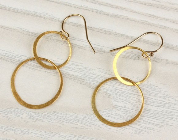 "Double circle earrings, gold circle earrings, dangled earrings,14k gold filled, minimalist, everyday simple, ""Two Circles"" Earrings"