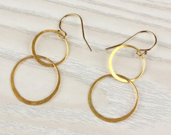 "Double circle earrings, gold circle earrings, dangled earrings,14k gold filled, minimalist, everyday simple, ""Two Circles"" Earrings"