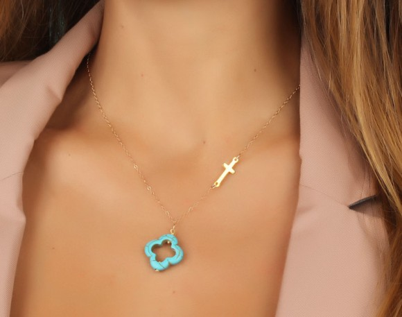 "Sideways Cross Necklace, Turquoise Clover Necklace / Turquoise Clover, Gold Cross Necklace / Asymmetrical Necklace | ""Admete"""