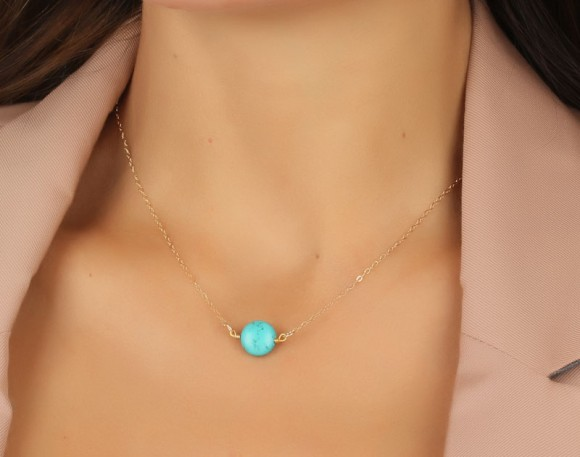 """Turquoise Necklace, Gold Necklace / Turquoise And Gold, Bridesmaid Jewelry / Bridal Pendant, Best Friend Necklace   """"Antiope"""""""