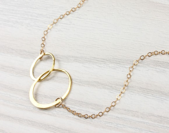 "Double Circle Necklace, Infinity Necklace / Gold Circle Necklace, 14k Gold Filled / Ring Necklace, Bridesmaid Necklace | ""Two Circles"""