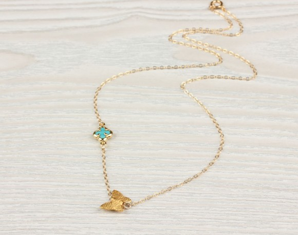 "Clover Turquoise Necklace, Butterfly Gold Necklace / Bridesmaid Necklace, Lucky Necklace / 14k Gold Filled, Tiny Gold Clover | ""Blue Butterfly"""