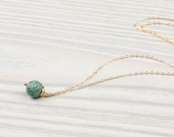"Green Turquoise Necklace, Turquoise Necklace / Bridesmaid Necklace, Gemstone Necklace, Wire Wrapped Necklace | ""Cacia"""