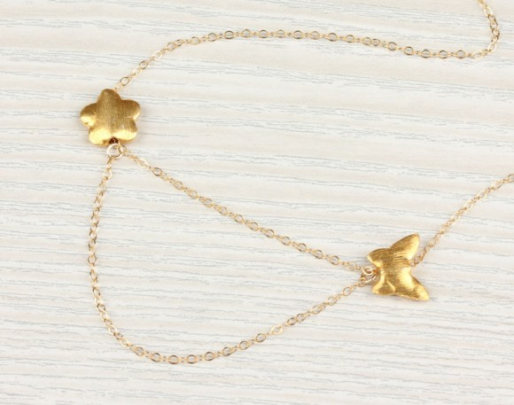 """Butterfly Gold Necklace, Flower Necklace / Layering Necklace, 14k Gold Filled / Bridesmaid Gift, Simple Necklace 