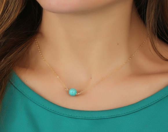 "Turquoise Necklace, Gold Necklace / Turquoise And Gold, Bridesmaid Jewelry / Best Friend Necklace, Stone Necklace | ""Calydonian"""