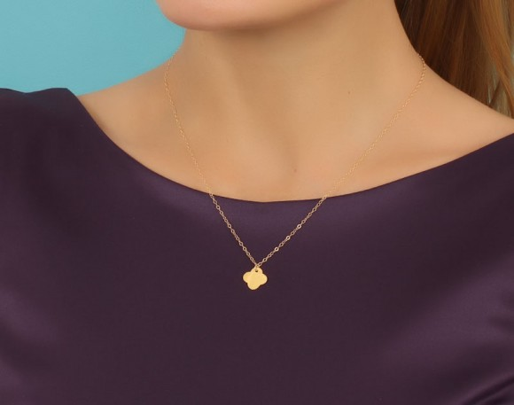 "Clover Necklace, Good Luck Necklace / Gold Clover Necklace, Rose Gold Clover Necklace / 14k Gold Filled, Silver Clover Necklace, ""Clover"""