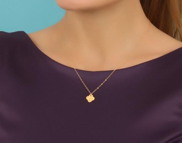 "Clover Necklace, Good Luck Necklace / Gold Clover Necklace, Rose Gold Clover Necklace / 14k Gold Filled, Silver Clover Necklace, ""Clover"""