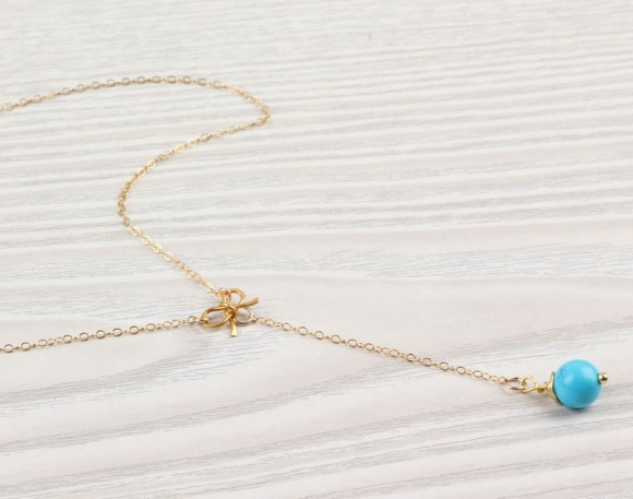 "Gold Bow Necklace, Turquoise Necklace / Lariat Necklace, Turquoise Drop Pendant / Bridesmaid Necklace, Wire Wrapped Gold Necklace | ""Deliades"""