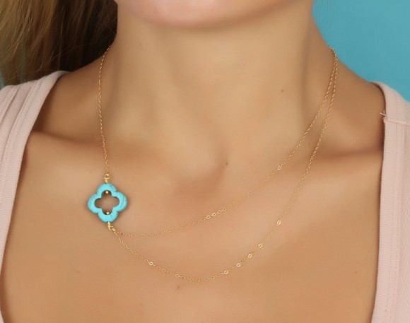 "Turquoise Clover Necklace, Asymmetric Necklace / Gold Clover Necklace, Bridal Necklace / Layered Necklace | ""Erato"""