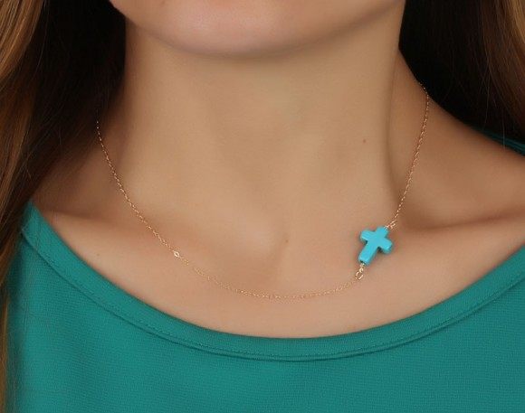 "Turquoise Cross Necklace, Gold Sideways Cross Necklace / Asymmetric Necklace, Turquoise Jewelry / Best Friend Gift | ""Eris"""