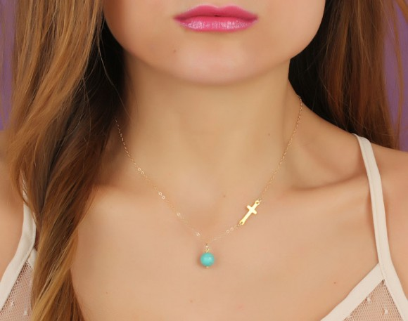 "Gold Sideways Cross Necklace, Turquoise Necklace / Asymmetrical Necklace, Turquoise Jewelry / Gold Cross, Gold Filled Pendant | ""Gaea"""