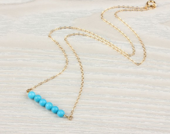 Turquoise Necklace, 14k Gold Filled / Gemstone Necklace, Beaded Necklace / Bridesmaid Necklace, Howlite Stone | Galene