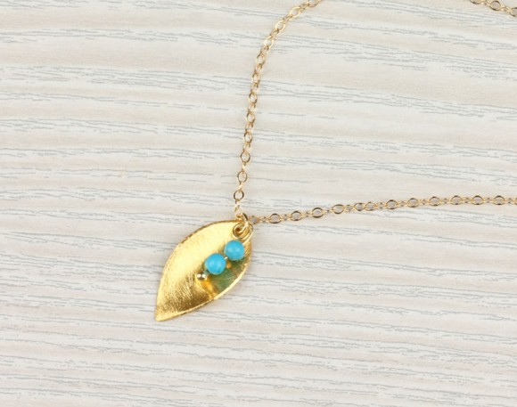 "Gold Leaf Necklace, Turquoise Necklace / Gold Necklace, 14k Gold Filled / Tiny Necklace, Simple Necklace, Minimalist Jewelry | ""Halia"""