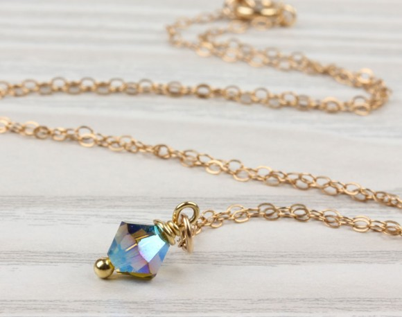 "Swarovski Necklace, Gold Filled Pendant / Olivine Necklace, Crystal Necklace / Tiny Charm Necklace, Bridal Necklace | ""Idaia"""