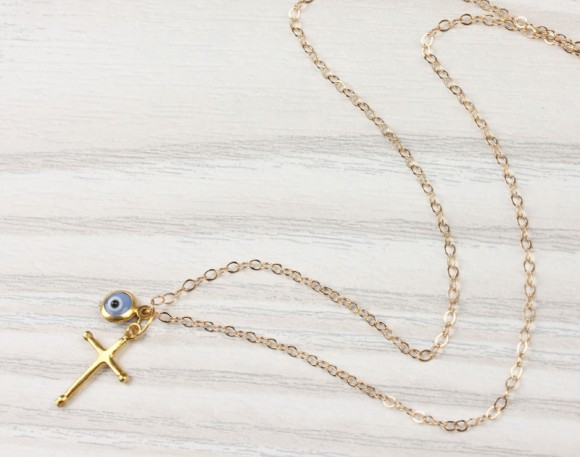 "Evil Eye Necklace, Gold Cross Necklace / Cross Pendant, Blue Evil Eye Necklace / Evil Eye Jewelry, Protection Necklace | ""Nemea"""