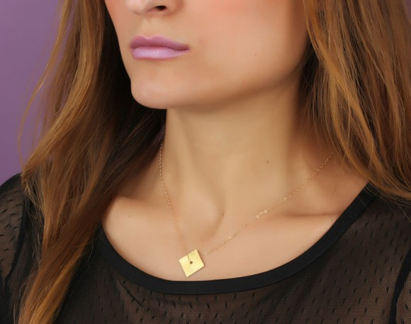 "Gold Square Necklace, Diamond Shaped Necklace / Geometric Jewelry, Square Necklace / Minimalist Necklace, 14k Gold Filled Necklace | ""Peneus"""