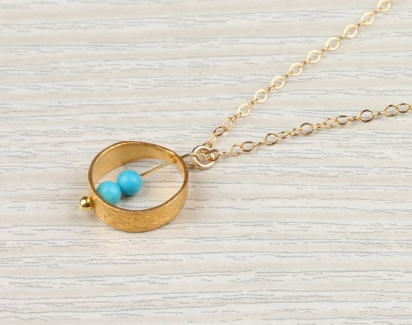 "Gold Ring Necklace, Turquoise Circle Necklace / Bridal Necklace, 14k Gold Filled, Everyday Simple Necklace | ""Rhode"""