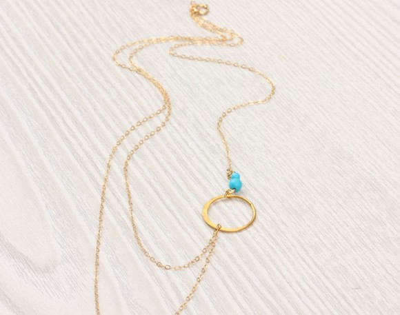 "Layered Necklace, Turquoise Necklace / Assymetrical Necklace, Simple Gold Necklace / Bridesmaid Necklace, Silver Circle Necklace | ""Sinope"""