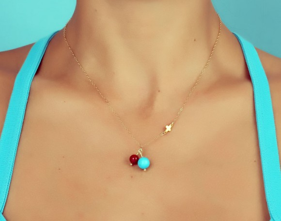 Coral Turquoise Necklace / Natural Turquoise Necklace | Teledike