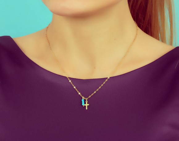 "Tiny Cross Necklace, Turquoise Necklace / Gold Cross, Mother Gift / 14k Gold Filled, Protection Necklace | ""Tiny Cross"" Necklace"