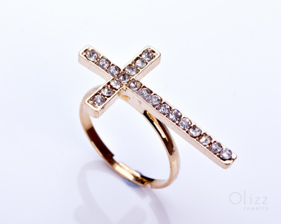 "Gold Sideways cross ring, gold cross ring, large crystal cross, jewelry ring, anniversary ring, statement ring, religious ring, ""Simoeis"""