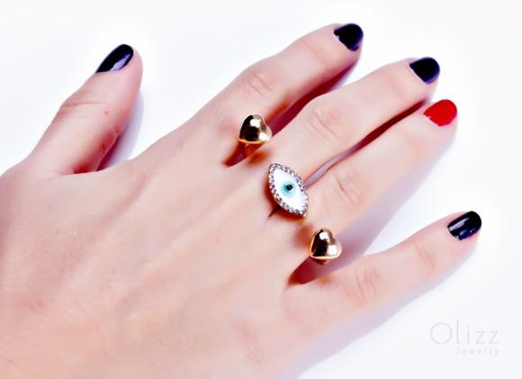 "Double heart ring, evil eye ring, gold double ring, protection ring, heart ring, gold ring, everyday jewelry, evil eye jewelry, ""Talos"""