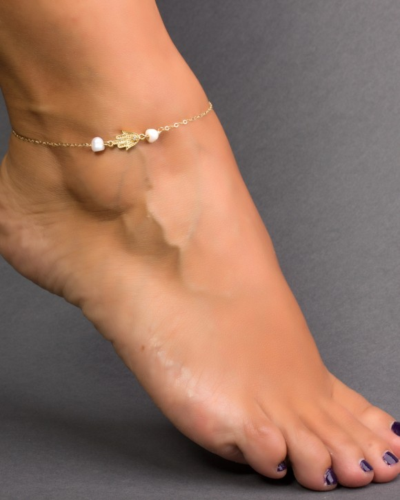 Freshwater Pearl Ankle Bracelet - Gold Hamsa Anklet
