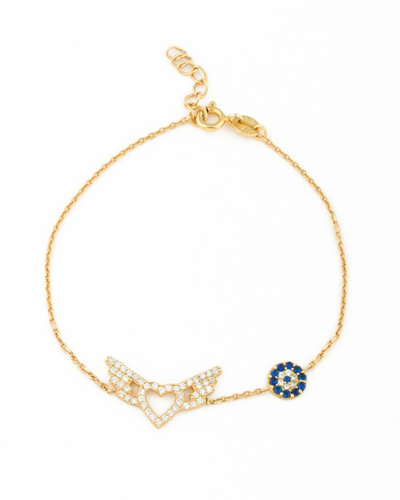 Heart with wings Bracelet • Evil Eye Bracelet