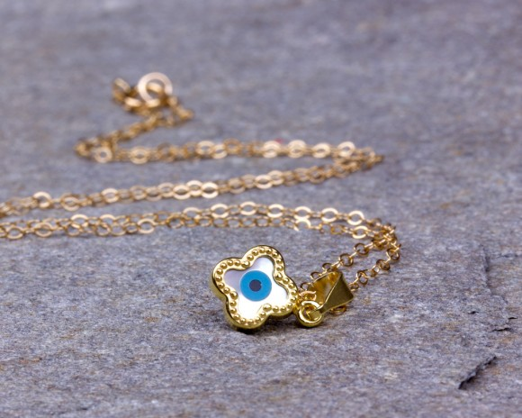 Gold Evil Eye Necklace - Clover Necklace