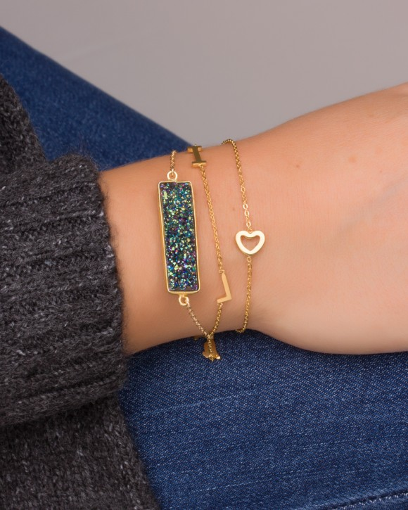 Raw Stone Bracelet - Gold Bar Bracelet