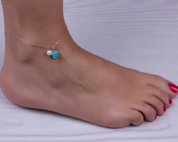 """Turquoise anklet, rose gold anklet, love anklet, charm anklet, turquoise and pearl bracelet, pearl anklet, turquoise rose gold, """"Elete"""""""