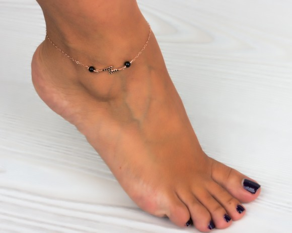 Rose Gold Anklet / Lightning Bolt Jewelry
