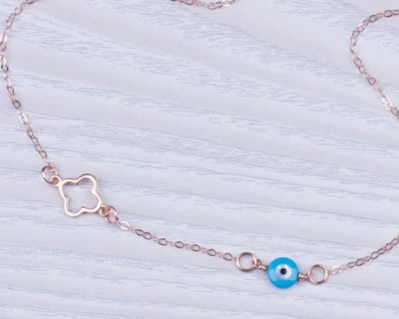 "Evil Eye Necklace, Clover Necklace / Blue Evil Eye, Four Leaf Clover Necklace / Rose Gold Pendant, Evil Eye Jewelry, Silver Evil Eye | ""Glaucia"