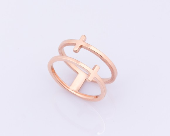 Rose Gold Cross Ring - Double Ring