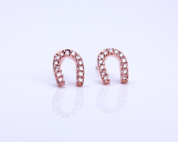 """Horseshoe stud earrings, Gold horseshoe earrings, tiny gold stud earrings, cz earrings, good luck jewelry, rose gold horseshoe, """"Lamos"""""""
