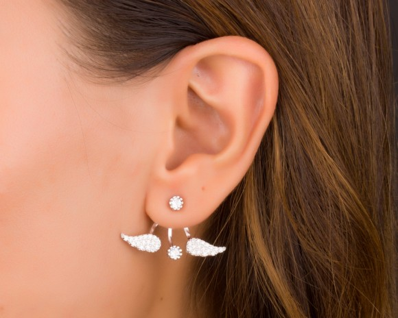 Ear Jacket Sterling Silver - Angel Wing Earrings