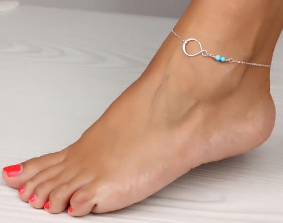 "Infinity anklet, turquoise anklet, infinity ankle bracelet, silver anklet, best friend bracelet, turquoise ankle bracelet, ""Aisepides"""