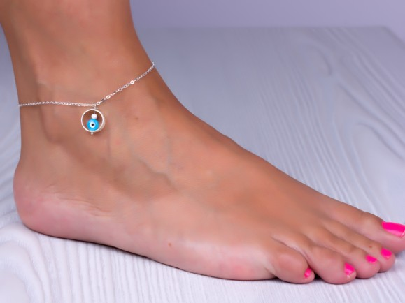 "Sterling silver anklet, evil eye ankle bracelet, something blue, good luck anklet, silver ankle bracelet, bridesmaid jewelry, ""Megaera"""