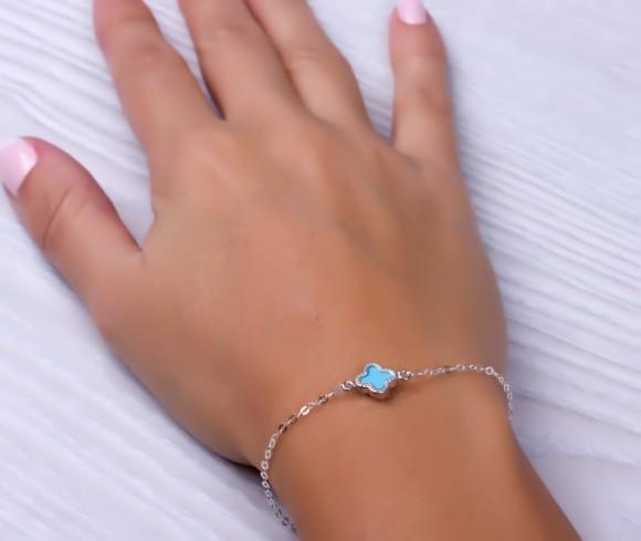 """Four leaf clover bracelet, clover bracelet, sterling silver bracelet, good luck bracelet, turquoise silver, bridesmaid bracelet, """"Mimas"""""""