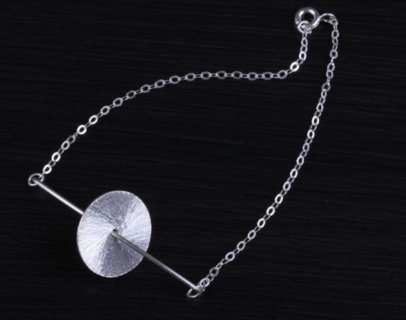 "Silver Bar bracelet, silver disc bracelet, geometric jewelry, brushed bracelet, bridesmaid bracelet, everyday bracelet, ""Moon in Orbit"""