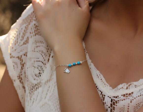 Wedding Jewelry Bracelets, Sterling Silver Friendship Bracelets / Sterling Silver Charm Bracelet, Simple Silver Bracelet / Silver Friendship Bracelet, Turquoise Silver Bracelet, Silver Crown Bracelet | Sirens