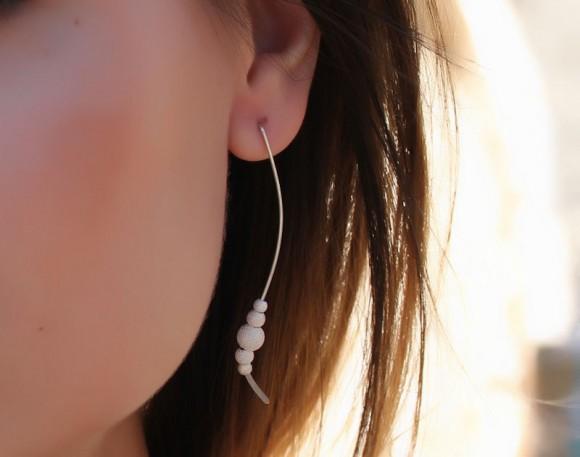 """Silver bead earrings, sterling silver earrings, elegant silver jewelry, stardust, bridal earrings, everyday earrings, minimalist, """"Iris"""""""