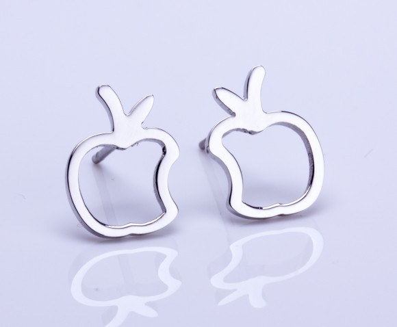 "Silver stud earrings, apple earrings, silver apple, tiny silver stud earring, small stud earrings, post earrings, apple jewelry, ""Metis"""