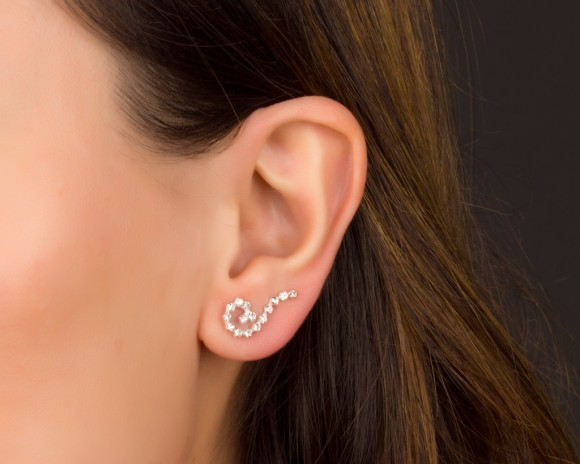 Swirl Earrings - Sterling Silver Ear Climber Earrings